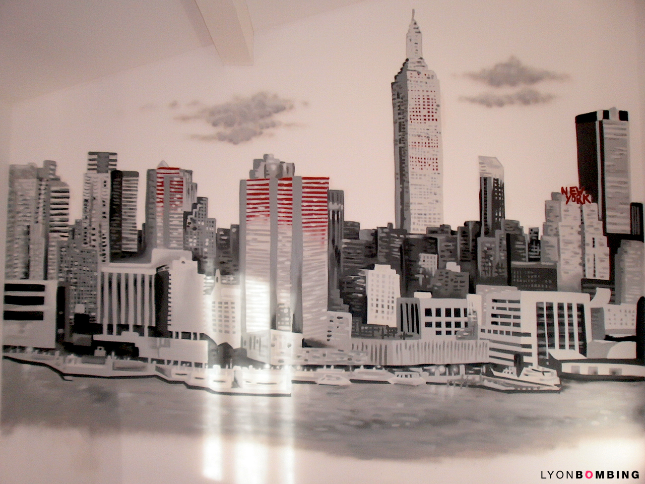 Deco chambre theme new york pr l vement d for Chambre ado fille new york