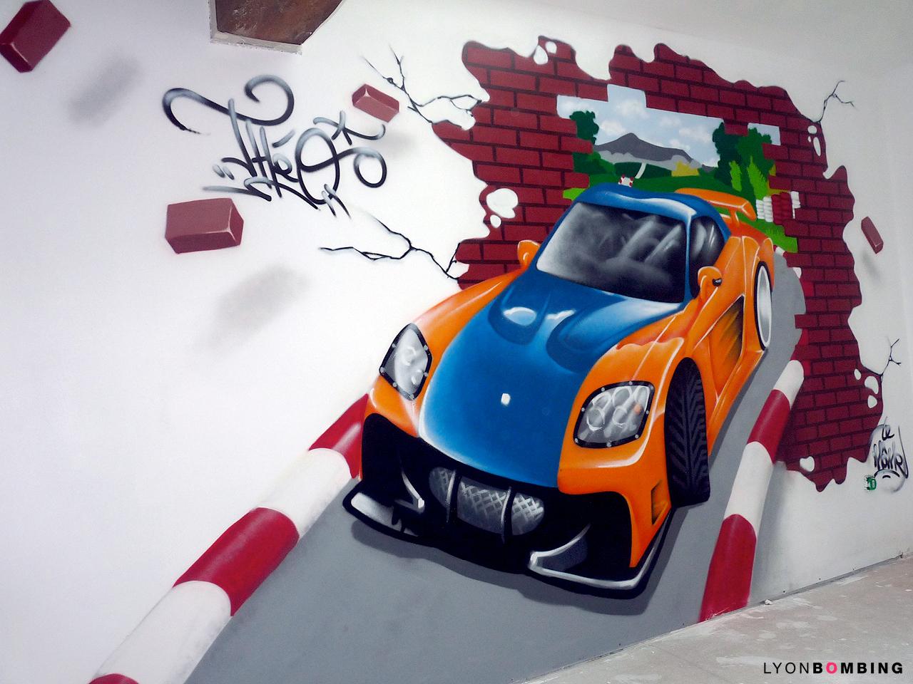 Chambre voiture de course chambre lyonbombing - Chambre garcon theme voiture ...