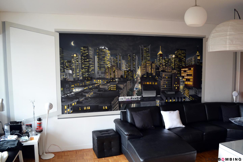 Vue urbaine en trompe l oeil int rieur lyonbombing for Decoration murale vue sur new york
